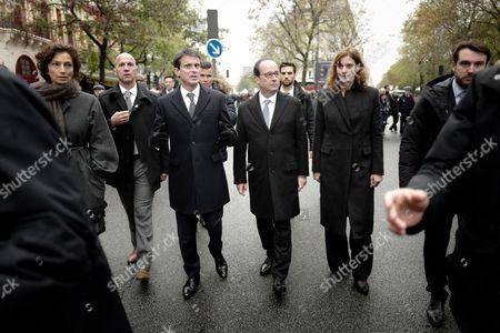 Manuel Valls, Francois Hollande and Juliette Meadel