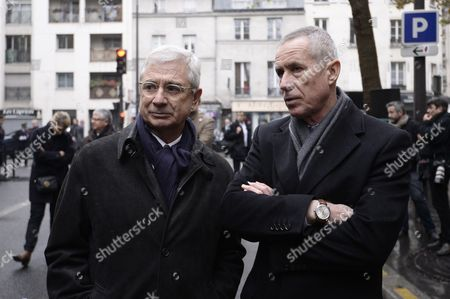 Claude Bartolone and Francois Molins attending a ceremony presided over by French President Francois Hollande to commemorate the first anniversary of the November 2015 terrorist attacks, at La Belle Equipe restaurant