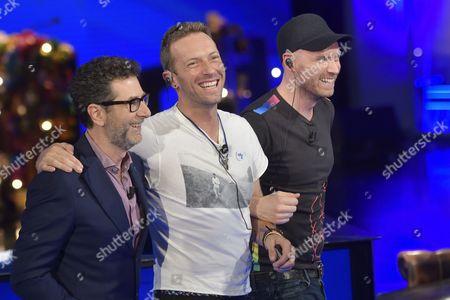 Fabio Fazio with The Coldplay, Chris Martin and Jonny Buckland