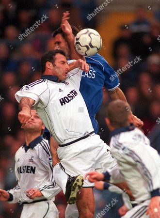 Contraversial hand ball for Chelsea's 1st goal which was scored from the penalty spot Ramon Vega (Tottenham Hotspur) handles the ball under pressure from Gustavo Poyet (Chelsea) 28/10/2000 Chelsea v Tottenham  Great Britain London