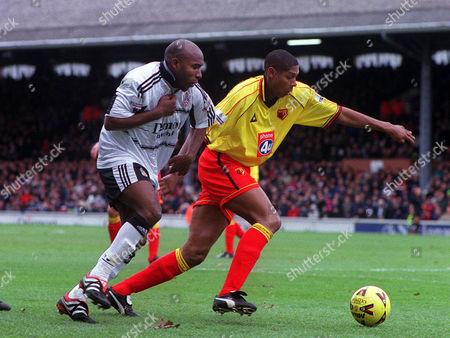 Stock Photo of Barry Hayles (Fulham) Carlton Palmer (Watford) Fulham v Watford 26/12/2000 Great Britain London