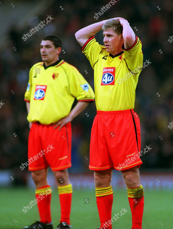 Watford's Nigel Gibbs (left) and Charlie Miller look on after Liverpool's 2nd goal by David Thompson Watford v Liverppol FA Premiership 15/01/2000 Great Britain London