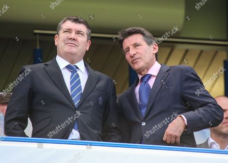 Football - 2013 / 2014 Premier League - Chelsea vs Norwich City Ron Gourlay Chief Executive of Chelsea and Lord Sebastian Coe before the game against Norwich City at Stamford Bridge