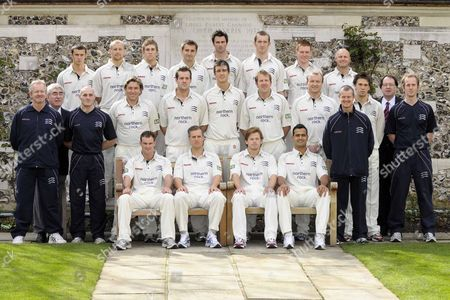 Middlesex CC whites team shot Back row (l to r) Dan Housego Gareth Berg Dawid Malan Tim Murtagh Ben Scott Danny Evans Eoin Morgan and David Nash Middle row (l to r) Richard Scott (2nd XI coach) Don Shelley (1st XI scorer) Luke Woodhouse (Strength and conditioning coach) Chris Silverwood Chris Peploe Steven Finn Alan Richardson Shaun Udal Toby Radford (1st XI coach) Billy Godleman Andrew Jines (2nd XI scorer) and Brendan Zeman (Physiotherapist) Front Row (l to r) Andrew Strauss Ed Smith (Captain) Ed Joyce and Owais Shah Middlesex Press Day Harris Gardens Lords London 01/04/2008