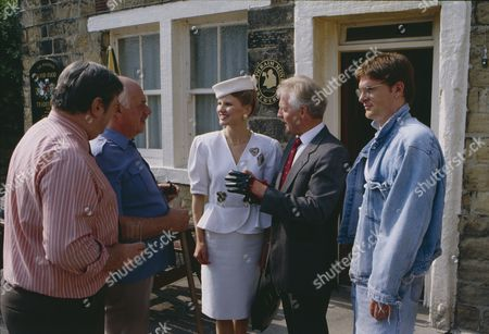 Christopher Chittell (as Eric Pollard) and Siv Borg (as Toril, Norwegian dignatory to twin towns) with Richard Thorp (as Alan Turner) and Arthur Pentelow (as Henry Wilks) (Episode 1590 - 11h September 1991)