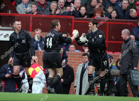 Stock Picture of Andy Goram is replaced by Raimond van der Gouw 60 minutes into his Manchester United debut and after conceding 2 goals Manchester United v Coventry City FA Premiership 14/04/2001 Great Britain Manchester