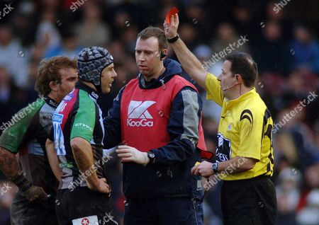 De Wet Barry (Harlequins) is sent off for a high tackle on Matthew Tait by referee Martin Fox Harlequins v Newcastle Falcons 29/3/2008