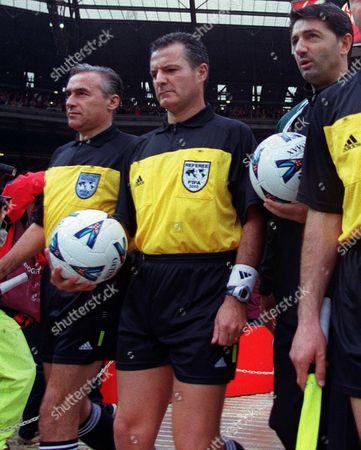 Stefano Braschi (Referee) centre England v West Germany Wembley Stadium 7/10/2000