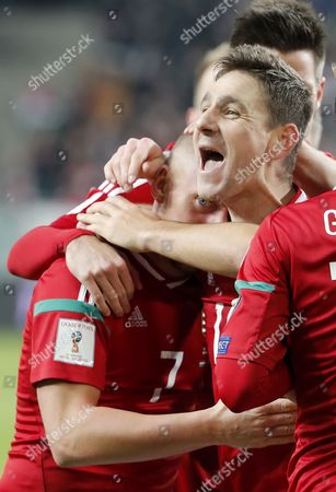 Zoltan Gera (R) of Hungary celebrates his goal with Balazs Dzsudzsak #7 of Hungary