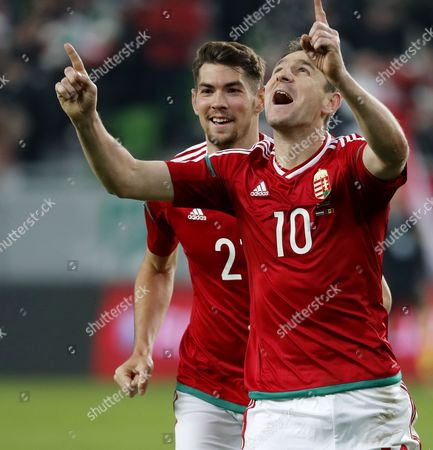 Zoltan Gera #10 of Hungary celebrates his goal with Barnabas Bese (L) of Hungary