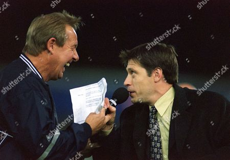 Former Leicester players Alan Birchenall (left) and Tony Cottee entertain the crowd at half time Leicester City v Middlesbrough FA Premiership 17/9/01 Great Britain Leicester