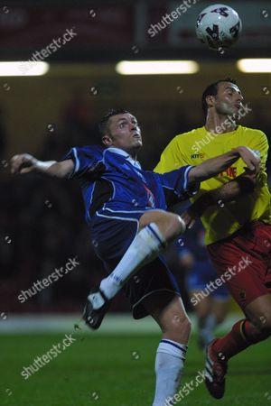 Geoff Horsfield (Birmingham City) Ramon Vega (Watford) Watford v Birmingham City 26/09/2001 Great Britain London