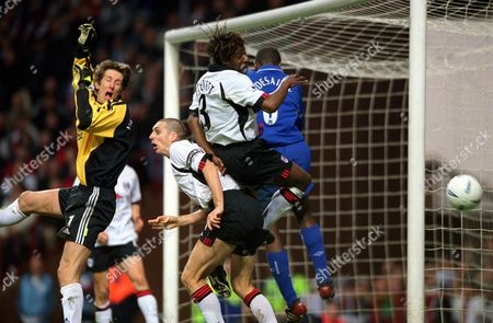 A cross flashes past the Fulham goal watched by goalkeeper Edwin van der Saar and Rufus Brevett Chelsea v Fulham FA Cup Semi-Final Villa Park 14/04/2002 Great Britain Birmingham