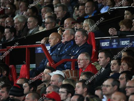 Football - Champions League - Manchester United vs Glasgow Rangers Rangers management of Kenny McDowell Ally McCoist and Walter Smith during the Manchester United vs Glasgow Rangers Group C Champions League match Old Trafford United Kingdom Glasgow