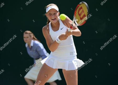 Tennis - 2014 Wimbledon Championships - Week Two Friday Girls Singles Semi Finals Tornado Alicia Black (USA) v Jelena Ostapenko (LAT) Jelena Ostapenko on Court 10