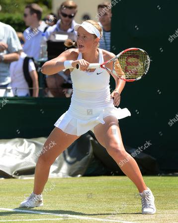 Stock Photo of Tennis - 2014 Wimbledon Championships - Week Two Friday Girls Singles Semi Finals Tornado Alicia Black (USA) v Jelena Ostapenko (LAT) Jelena Ostapenko on Court 10