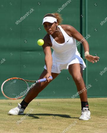 Tennis - 2014 Wimbledon Championships - Week Two Friday Girls Singles Semi Finals Tornado Alicia Black (USA) v Jelena Ostapenko Tornado Alicia Black on Court 10