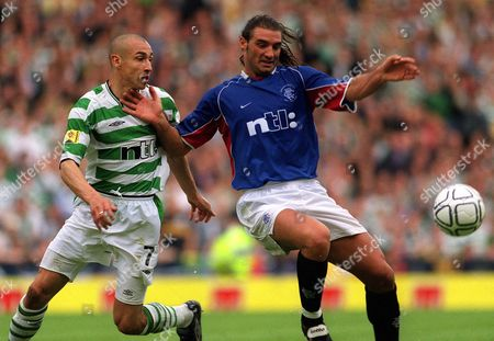 Lorenzo Amoruso (Rangers) Henrik Larsson (Celtic) Rangers v Celtic Scottish FA Cup Final Hampden Park Glasgow 4/5/2002 Great Britain Glasgow