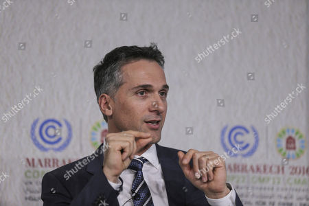 Stock Picture of Eric Rondolat, CEO of Philips Lighting, speaks at a press conference at the Climate Conference, known as COP22, in Marrakech, Morocco