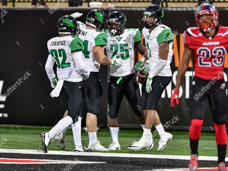 th, .North Texas Mean Green running back Andrew Tucker (25) celebrates after a touchdown during an NCAA College football game between the North Texas Mean Green Eagles vs Western Kentucky Hilltoppers at Houchens Stadium in Bowling Green, KY
