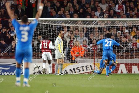 Auxerre's 2nd goal scored by Khalilou Fadiga (on ground) Arsenal v Auxerre Champions League 22/10/2002 Great Britain London