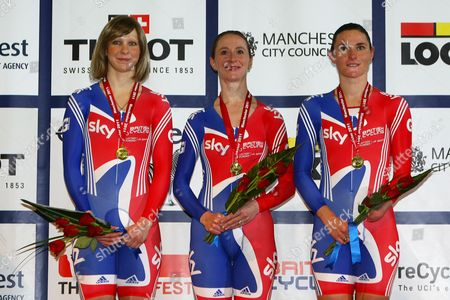 Cycling - Track World Cup Joanna Rowsell Wendy Houvenaghel and Sarah Storey pose for photographs with their gold medals having won the women's team pursuit at the Manchester Velodrome