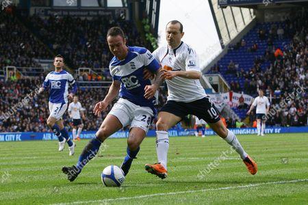 Football - FA Cup Quarter Final - Birmingham vs Bolton Wanderers Martin Jiranek of Birmingham City and Martin Petrov of Bolton battle at St Andrews
