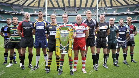 26 08 2010 The launch of the new Aviva Premiership Rugby season at Twickenham Stadium London England Premiership players with the Aviva Cup ( L-R) Luke Watson of Bath Rugby Dylan Hartley of Northampton Saints Steve Borthwick of Saracens Marco Wentze of Leeds Carnegie Tom Rees of London Wasps Geordan Murphy of Leicester Tigers Mike Tindall of Gloucester Rugby James Hudson of Newcastle Falcons Tommy Hayes of Exeter Chiefs Clarke Dermody of London Irish Charlie Hodgson of Sale Sharks Chris Robshaw of Harlequins England