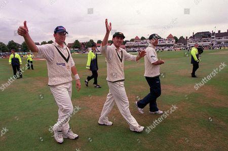 (l-r) Mark Waugh Damien Martyn and Ricky Ponting celebrate Australia's victory England v Australia 3rd Test Match Trent Bridge Nottingham 4/08/2001 Great Britain Nottingham