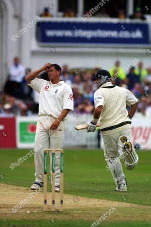 Darren Gough (England) scrathces his head after shot by Mark Waugh (right) England v Australia 3rd Test Match Trent Bridge Nottingham 4/08/2001 Great Britain Nottingham