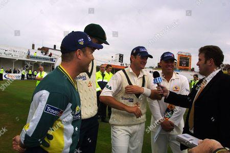 Former Australian captain Mark Taylor (right) interviews (l-r) Michael Slater Glenn McGrath Mark Waugh and Shane Warne for Channel 4 England v Australia 3rd Test Match Trent Bridge Nottingham 4/08/2001 Great Britain Nottingham