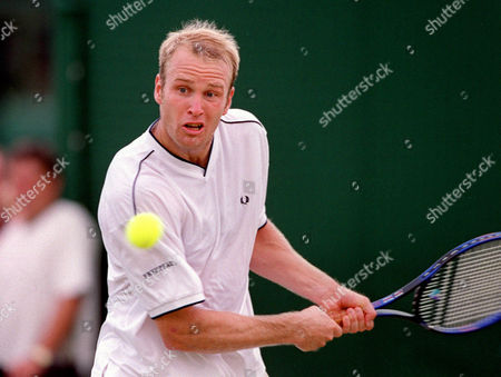Magnas Gustafsson (SWE) during his match against fellow Swede Thomas Johansson (SWE) Wimbledon Day 5 1/7/2000