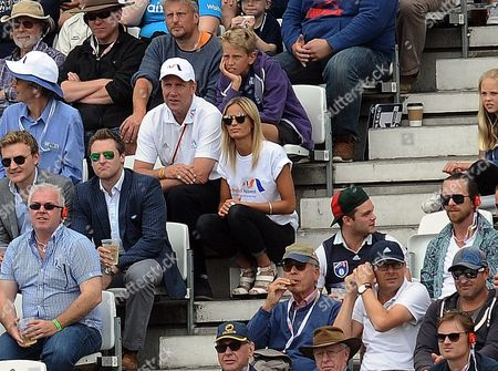 Cricket - 2015 Australia Tour of England - Fourth Ashes Test at Trent Bridge Stuart Broad's father Chris Broad with his son's girlfriend Bealey Mitchell during the morning session of the second day's play