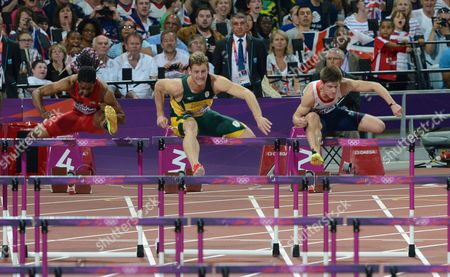 London Olympics 2012 : Mens 110 m Hurdles Final Lawrence Clarke - GBR - far right Lehann Fourie - South Africa