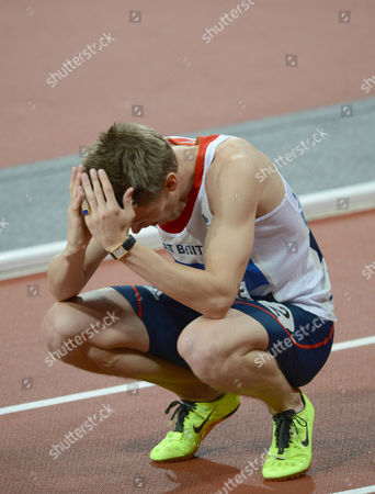 London Olympics 2012 : Mens 110 m Hurdles Final Lawrence Clarke - GBR is in shock after finishing in fourth place