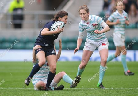 Rugby Union - 2015 Women's Varsity Match - Oxford University Women vs Cambridge University Women Sophie Trott of Oxford and Caroline Reid of Cambridge at Twickenham
