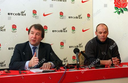 Francis Baron (RFU) and England coach Clive Woodward announce that the selected team for Saturdays match have refused to play England Press Conference 21/11/00