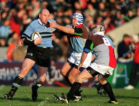 Craig Quinnell (Cardiff) Adam Leach and Steve White-Cooper (Harlequins) Harlequins v Cardiff European Cup 16/1/2000 Great Britain London