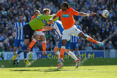 Football - 2012 / 2013 Championship - Brighton and Hove Albion vs Blackpool Goalkeeper Brighton's Tomasz Kuszczak collides with Gary Taylor-Fletcher of Blackpool at The Amex