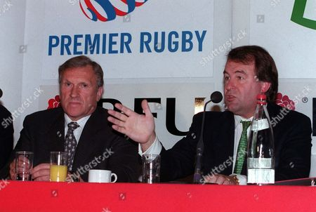 RFU Chief Executive Francis Baron (left) and Gloucester Chairman Tom Walkinshaw at the Press Conferance annoucing the new agreement between the RFU and the Premier League Clubs Twickenham 24/07/2001 Great Britain London