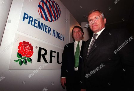 Tom Walkinshaw (Representing the Premier League Clubs Chairman left) and Francis Baron (RFU Chief Executive) Press Conferance for Agreement of RFU/Premier League Clubs Twickenham 24/07/2001 Great Britain London