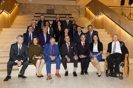 (L-R bottom row) Deyan Sudjic, Director of The Design Museum, Jill Ritblat, Sir Terence Conran, Prince Philip, Luqman Arnold, Mrs Bakala and David Constantine (L-R- second row) Sebastian Conran, Dr John Hegarty, Anya Hindmarch, Hugh Devlin, Charles Rifkind, (L-R third row) Alistair Johnston, Saba Nazar, Alice Black, Asif Khan (L-R- top row) Chris Frayling, Nicholas Bull and Julian Vogel