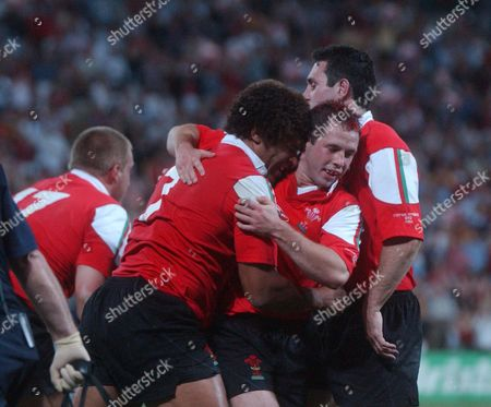 Colin Charvis celebrates scoring a Try for Wales with Gareth Cooper England v Wales Rugby World Cup 1/4 Final Suncorp Stadium Brisbane 9/11/2003
