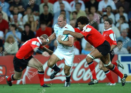 Lawrence Dallaglio (England) Colin Charvis and Dafydd Jones (Wales) England v Wales Rugby World Cup 1/4 Final Suncorp Stadium Brisbane 9/11/2003