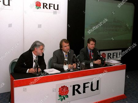 Terry Ward (Stadium Architect) Francis Baron (RFU Chief Executive) and Richard knight (Stadium Manager) RFU Press Conference to unvail the Redevelopment Plans for the South Stand at Twickenham Twickenham 10/9/02 Great Britain London