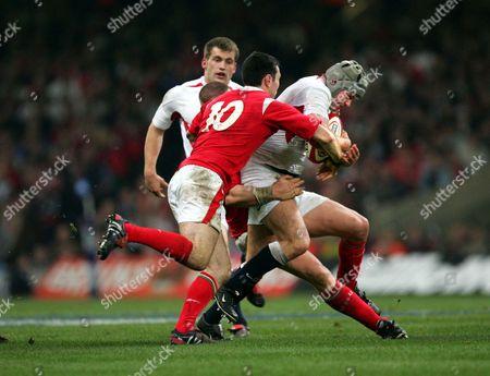 James Forrester (Eng) Stephen Jones (Wales) Wales v England RBS 6 Nations Championships 2005 2/2/2005