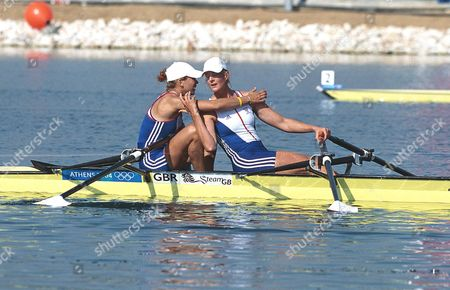 Sarah Winckless and Elise Laverick(GBR) celebrate after winning a Bronze medal medal Womens Doubles Sculls Final 21/8/2004 Athens Olympics 2004