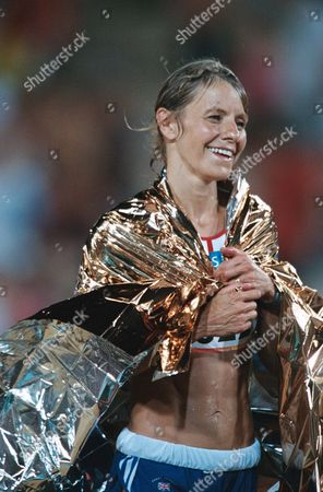 Stock Image of Tracey Morris (GBR) after finishing the race Womens Marathon race Athens Olympics 2004 22/8/2004