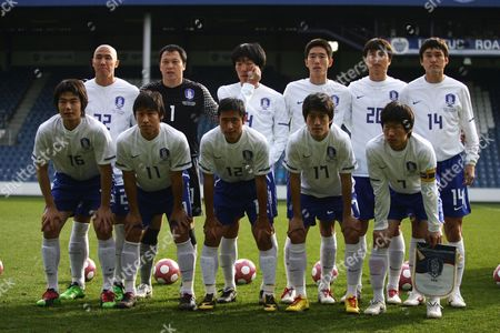 Football Back Row:-Left to Right:- Cha Du-Ri Lee Woon-Jae Cho Yong-Hyung Kim Jung-Woo Lee Lee Dong-Gook Lee Jung-Soo of South Korea Front Row:-Left to Right:- Ki Sung-Yueng Lee Keun-Ho Lee Young-Pyo Lee Chung-Yong and Park Ji-Sung of South Korea International Friendly Ivory Coast v South Korea at Lotfus Road 02/03/2010