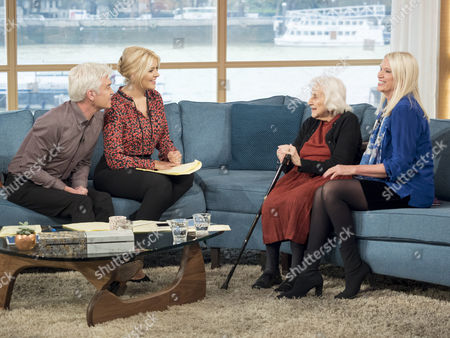 Phillip Schofield and Holly Willoughby with Sylvia and Anneka Rice